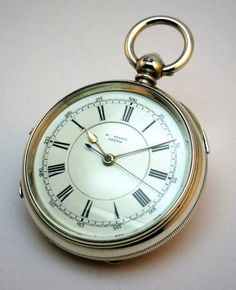 c1902, ANTIQUE SOLID SILVER OPEN FACE CENTRE SECONDS CHRONOGRAPH POCKET WATCH