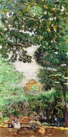 jean-édouard vuillard(1868–1940), the bench (luxembourg garden), 1917-18. distemper on canvas, 100 x 50 cm. private collection http://www.the-athenaeum.org/art/detail.php?ID=99864