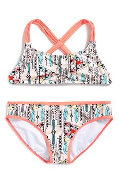 Billabong 'Surf Tribe Tali' Two-Piece Bandeau Swimsuit (Big Girls) available at #Nordstrom