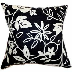 """Add a pop of pattern to your sofa, bed, or window seat with this charming black and white pillow.   Product: PillowConstruction Material: Cotton and down fillColor: Black and whiteFeatures:  Insert includedHidden zipper closureMade in the USA Dimensions: 18"""" x 18"""""""