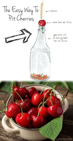 How to pit cherries easily without a pitter! This kitchen and food tip with save you a ton of time and headaches. Lots of food, cooking and kitchen hacks here to help you stay organized. Listotic.com