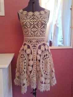 """Купить платье """" Романтика"""" - ажурное платье, Вязанное крючком, бежевый, однотонный, хлопок с вискозой"""