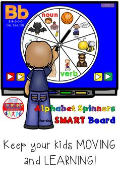 Here is an exciting new FREE letter B Alphabet Spinner for your SMART Board that will get your kids up and moving while they are learning about the letter B and its sound. This is a sample spinner from the bundle available in my store. Smart Board Activities, Smart Board Lessons, Reading Fluency Activities, Alphabet Activities, Teaching The Alphabet, Teaching Phonics, Teaching Tips, Brain Based Learning, Fun Learning