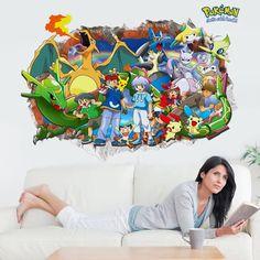 Cartoon Game Pikachu Pokemon Go Wall Stickers For Kids Rooms Children's Gift Cartoon Wall Decals Poster Nursery Hoom Decor Mural Pikachu Pokemon Go, Art Pokemon, Original 151 Pokemon, Cartoon Wall, Cute Monsters, Childrens Gifts, Room Wallpaper, Vinyl Art, Wall Stickers