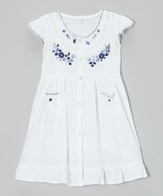 Another great find on #zulily! White & Blue Embroidered Santy Dress - Infant, Toddler & Girls by Little Cotton Dress #zulilyfinds. $32.99
