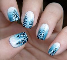 Winter Landscape nail art by Chasing Shadows