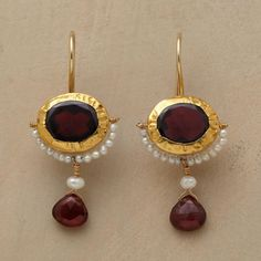 """Crimped 24kt gold and cultured seed pearls accentuate garnet's rich red hue. Handmade exclusive by Nava Zahavi. 14kt French wires. 1-3/8""""L."""