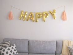 HAPPY gold foil mylar letter balloon banner by OhShinyPaperCo