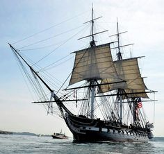 ★ USS  CONSTITUTION ★  sails from Boston Harbour.  The oldest commissioned US NAVY ship