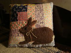 PRIMITIVE RABBIT ON ANTIQUE FEEDSACK LOG CABIN QUILT PILLOW ~ ORIGINAL FOLK ART