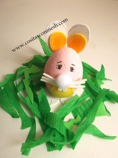 Kids Easter Bunny, Como hacer manualidades de pascua para niños : cosascositasycosotasconmesh Easter Crafts, Eggs, Christmas Ornaments, Holiday Decor, Creative, Food, Spring, Easter Crafts Kids, Easter Bunny