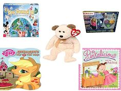 Girls Gift Bundle  Ages 612 5 Piece  World of Disney Eye Found It Board Game  Singer Brand Decorate Your Denim Party Pack Toy  Ty Beanie Babies Huggy The Bear  My Little Pony Applejacks Da