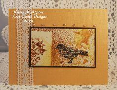Mini Birds from Lost Coast Designs on Stenciled background.  By Karen McAlpine
