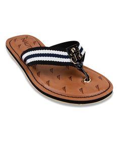 1b114bc00dc Black White Anchor Gulf Breeze Flip-Flop by Nautica Nautical Shoes