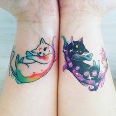 My matching cat tattoos (Evan Yu Ink – Toronto) Pair Tattoos, Dope Tattoos, Dream Tattoos, Anime Tattoos, Mini Tattoos, Body Art Tattoos, Small Tattoos, Tatoos, Tattoo Cat