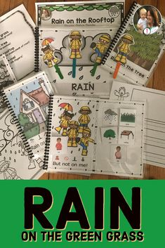 Rain on the Green Grass: Spring Weather Poem Circle Time Weather Unit, Simple Poems, Great Poems, Rain Poems, Black And White Books, School Songs, Simple Sentences, English Language Learners