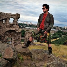 Howie Nicholsby, Creator and Designer of 21st Century Kilts in Holyrood Park in Edinburgh, Scotland, UK.
