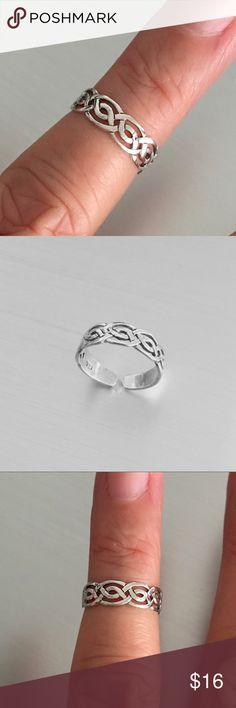 Celtic Design Toe Ring Face Height 6 mm Solid Sterling Silver 925 Adjustable