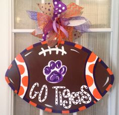 Check out our lsu wreath selection for the very best in unique or custom, handmade pieces from our wreaths & door hangers shops. Georgia Bulldogs Football, Clemson Football, Clemson Tigers, Lsu, Birthday Presents For Dad, Fathers Day Presents, Man Cave Presents, Deco Mesh Wreath Supplies, Football Door Hangers