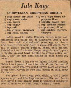 Jule Kage (Norwegian Christmas Bread)