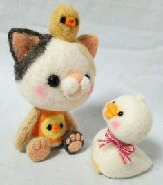 Cute Needle felted project wool animal cat duck(Via @hananeko_youmou)