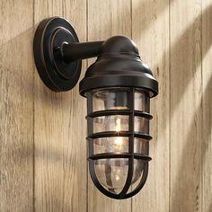 "$49 attic bath Marlowe Bronze 13 1/4"" High Metal Cage Outdoor Wall Light"