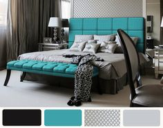 love this combination of colors . Never would have thought about putting these together! Turquoise Bedroom Decor, Bedroom Turquoise, Turquoise Headboard, Bedroom Colors, Teal Headboard, Preppy Bedroom, Bedroom Black, Silver Bedroom, Dream Rooms