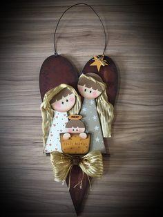 Wooden Christmas Tree Decorations, Christmas Wood Crafts, Christmas Nativity, Diy Christmas Ornaments, Christmas Projects, Kids Christmas, Nativity Ornaments, Nativity Crafts, Angel Crafts