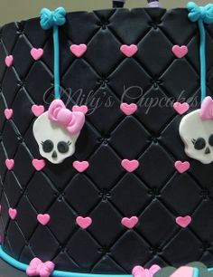 monster high cake. Use purple or pink and black hearts.