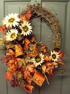 Fall Wreath Autumn Wreath Harvest Wreath Door by PeriwinkleSilks, $89.95