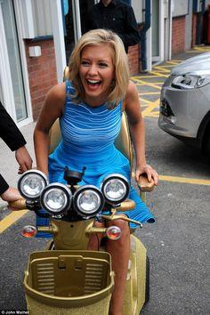 Rachel Riley showcases gold mobility scooter and Swarovski walking . Vespa Bike, Vespa Scooters, Katherine Jenkins, Motor Scooters, Mobility Scooters, Uk Tv, Scooter Girl, Lady Biker, Scooters