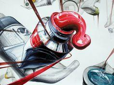 기초디자인 건국대 기디 입시미술 기초디자인 개체묘사 일러스트 디자인 물감 끈 리본 Illustration Story, Paint Tubes, Ap Art, Crayon, Pictures To Draw, Collage, Drawings, Anime, Painting