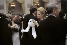 Actress Candice Bergen hold her rabbit mask while she dances - Scenes from the iconic party of the 1960s, held at the Plaza hotel.