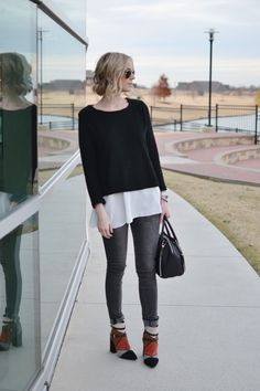 Goodnight Macaroon black and white top, Blank denim, patchwork boots, rebecca minkoff bag Blank Denim, Black And White Tops, Giveaway, Bell Sleeve Top, Normcore, Denim Patchwork, Style Inspiration, Chic, My Style