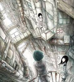 040 Knights of Sidonia - Manga Series Japanese Anime Poster My Fantasy World, Fantasy Art, Knights Of Sidonia, Anime City, Cyberpunk City, Matte Painting, Science Fiction Art, Environment Concept Art, Sale Poster