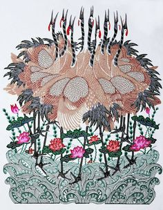 Chinese Paper Cutting - Stork