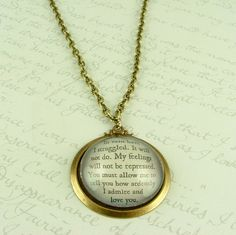 Jane Austen Literary Lovers Book Quote Glass by JezebelCharms, $35.00