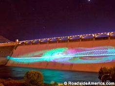 Grand Coulee Dam Laser Light Show, Coulee Dam,  Washington. Grand Coulee is a great place to visit if you enjoy camping and water sports. Seeing the lazer show at the dam is AMAZING, especially with the water rushing behind it