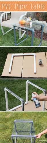 SO EASY! Seriously, you can't make an easier table than this one. Using PVC pipes you can make a lightweight table perfect for your patio, garden, poolside or even inside the house. Think about how cool this would look in a dorm room, too! Just love this project: http://www.ehow.com/how_4691867_build-pvc-pipe-table.html?utm_source=pinterest.com&utm_medium=referral&utm_content=freestyle&utm_campaign=fanpage