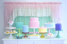 Cake Dessert Table. So Cute! So fattening! But that's okay! • Cakes: Denise Scianni for Lucky Treats • Photography, styling and stands by Aracely for Minted and Vintage.
