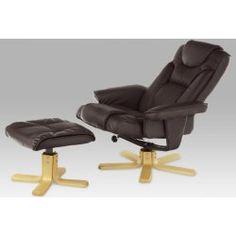 relaxační křeslo Autronic TV-8516 BR, s taburetem, eko tm.hnědá/natural