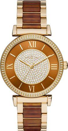 b933fb940966 Catlin Gold-Tone Stainless Steel & Amber Tort Acetate Bracelet Watch by Michael  Kors (Women). Obsessory