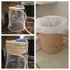 Get a dollar store trash an and hot glue top around the entire thing. Id probably use a trash can that was just plastic so you didnt need the plastic bag to cover the mesh inside. - Diy Home Decor Dollar Store Beach Theme Bathroom, Nautical Bathrooms, Beach Room, Beach Bathrooms, Small Bathroom, Beachy Bathroom Decor, Beach Theme Nursery, Anchor Bathroom, Beach Theme Kitchen