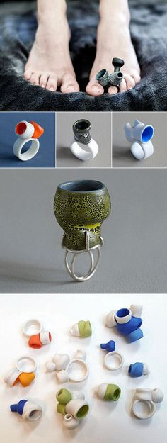 """Vessel"" and ""Valve"" rings by Lynn Latta."