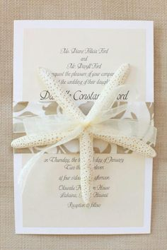 Beach themed wedding invitation card