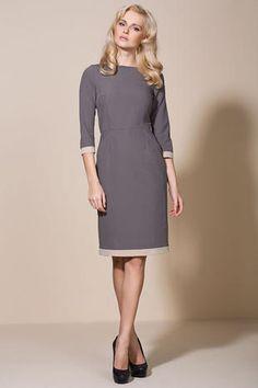 mock color - office dress, elegant cut, piping dress