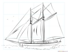 How to draw a sailing ship step by step. Drawing tutorials for kids and beginners.
