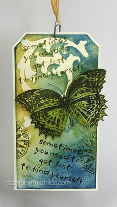 distress inks/ butterfly embossed on vellum