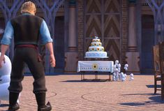 Kristoff bowling down the snowgies with Olaf's head (Frozen Fever)