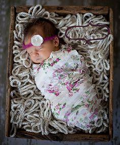 Newborn Stretch Ruffle Wrap with Flower Halo by PetuniaandIvy, $25.00
